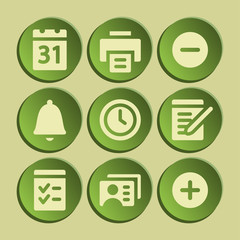Organizer web icons set. Green sticker.