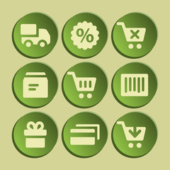 Shopping web icons set. Green sticker.