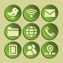 Communication web icons set. Green sticker.