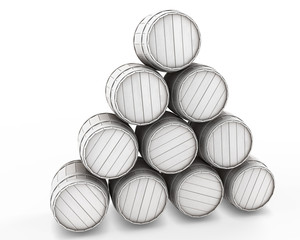 Stack of white barrels