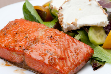 salmon with goat cheese and beet salad