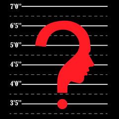 Mugshot question mark human head symbol, vector