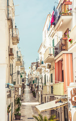 Vieste town typical narrow white streets, Apulia, Italy