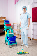 Medical staff cleans the hospital