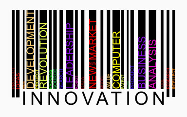 Innovation word concept in barcode with supporting words, modern