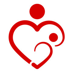 Mother's heart, breastfeeding, vector