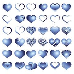Set of blue symbol heart, vector