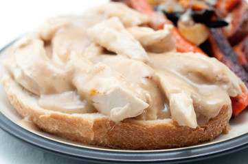 open faced hot chicken sandwich