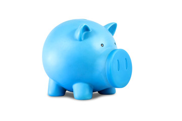 blue piggy bank isolated on white background.
