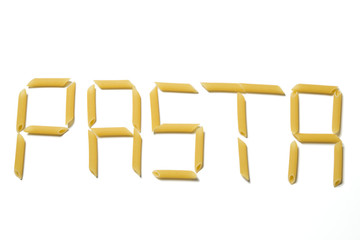 Pasta letters isolated on a white background