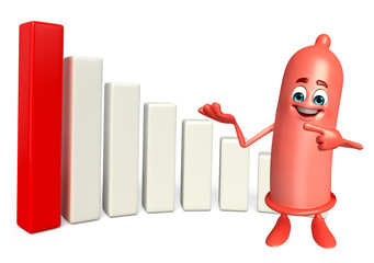 Condom Character with business graph
