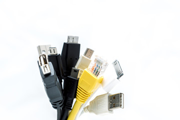 A bunch of USB plugs isolated on a white background