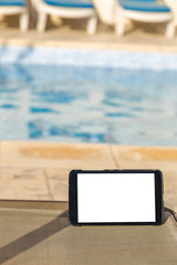 Blank digital tablet with empty space for text at the Spa