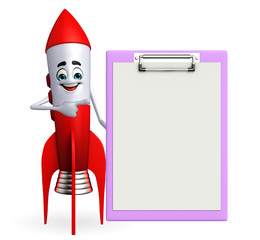 Rocket character with notepad