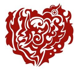 Red tribal Phoenix heart