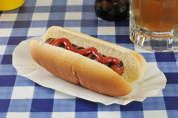Grilled hot dog with beer