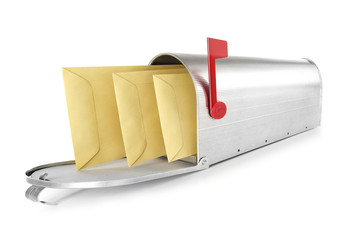Mailbox with three envelopes