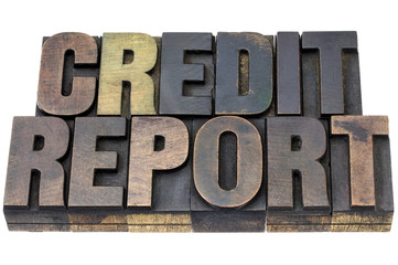 credit report in wood type