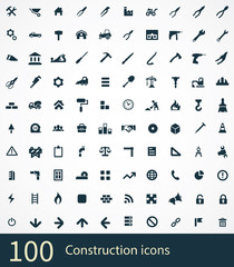 100 construction icons set.