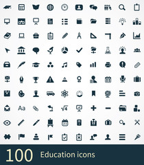 100 education icons set.