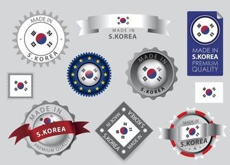 Made in s.Korea Seal, South Korean Flag (Vector Art)