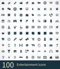 100 entertainment icons set.