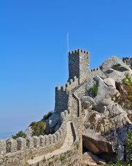 Thel Moorish castle -  ancient stone walls and guard towers gear