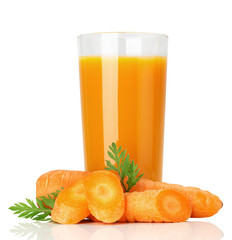 fresh carrot juice isolated on the white background