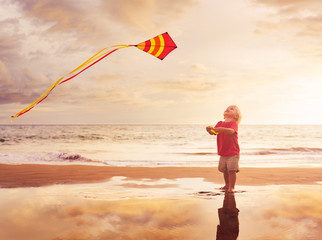 Young boy playing with kite