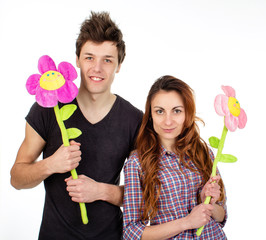 couple in love with flower