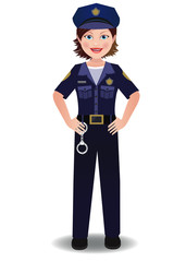 A cop woman in uniform standing with hands on hips