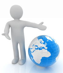 3d people - man, person presenting - pointing. Global concept wi