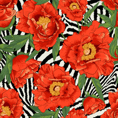 Beautiful tropical seamless flower pattern