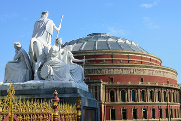 Statue at Albert Memorial overlooking Albert Hall