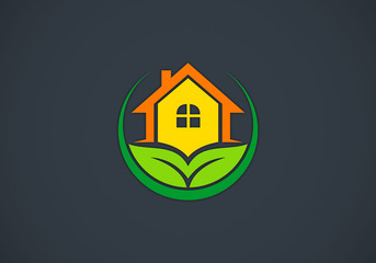 eco-house-garden-vector-logo