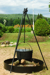antique  iron cooking pot