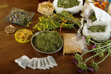 dried herbs at table