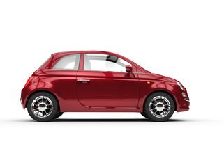 Small cherry colored economic car side