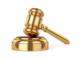 Golden judge gavel