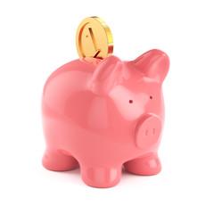Piggybank with gold