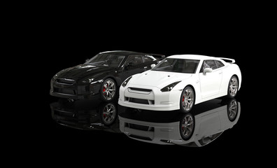 Cool black and white cars on reflective background