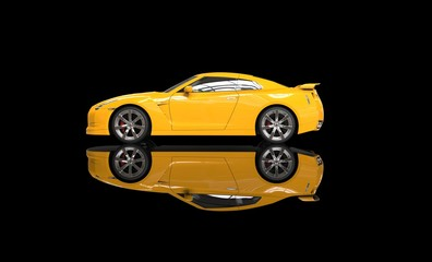 Cool yellow car on reflective background