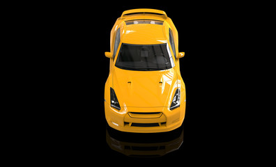 Cool yellow car top view on reflective background