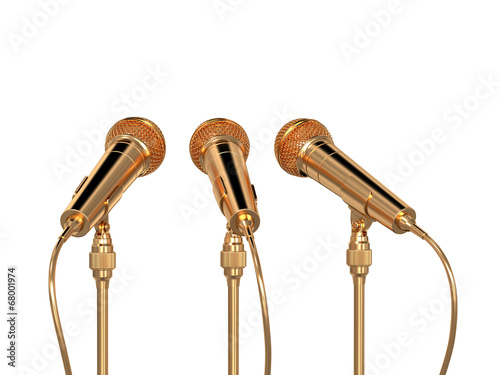 Golden microphones isolated