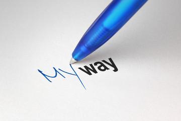 My way, written on white paper