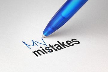 My mistakes, written on white paper