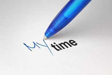 My time, written on white paper