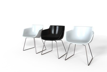 Simple black and white plastic chairs