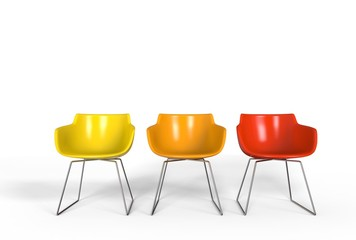 Simple plastic chairs - warm colors