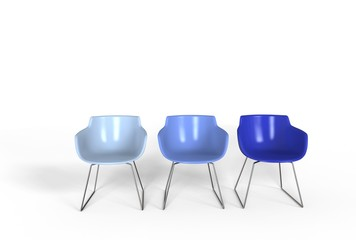 Simple plastic chairs - cold colors